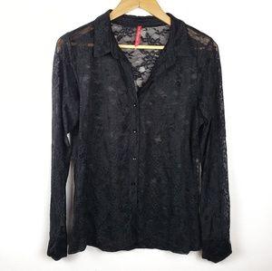 Ruby Ribbon | Black Button Down Blouse Medium
